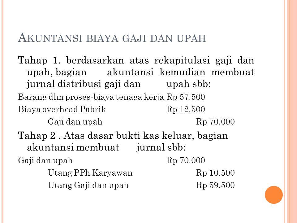 A KUNTANSI BIAYA GAJI DAN UPAH Tahap 1. berdasarkan atas rekapitulasi gaji dan upah, bagian akuntansi kemudian membuat jurnal distribusi gaji dan upah