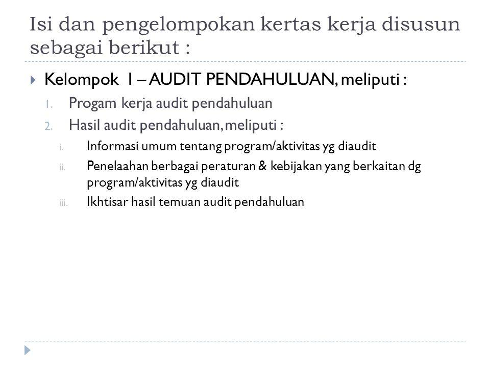 Isi dan pengelompokan kertas kerja disusun sebagai berikut :  Kelompok I – AUDIT PENDAHULUAN, meliputi : 1. Progam kerja audit pendahuluan 2. Hasil a