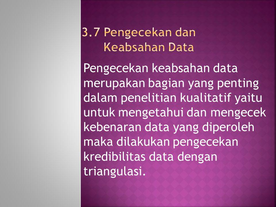 Pengecekan keabsahan data merupakan bagian yang penting dalam penelitian kualitatif yaitu untuk mengetahui dan mengecek kebenaran data yang diperoleh maka dilakukan pengecekan kredibilitas data dengan triangulasi.