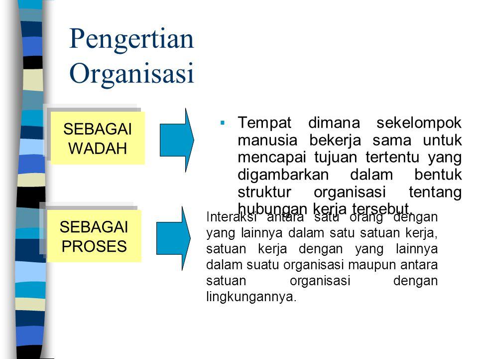 Struktur tata pembagian kerja dan struktur tata hubungan kerja antara sekelompok orang pemegang posisi yang bekerja sama secara tertentu untuk bersama-sama mencapai tujuan tertentu.