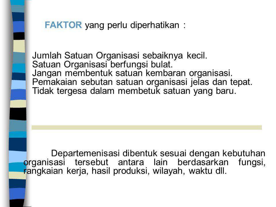Azas-Azaz Organisasi Departemenisasi Memudahkan penetapan bentuk struktur organisasi Kebutuhan & spesifikasi karyawan.
