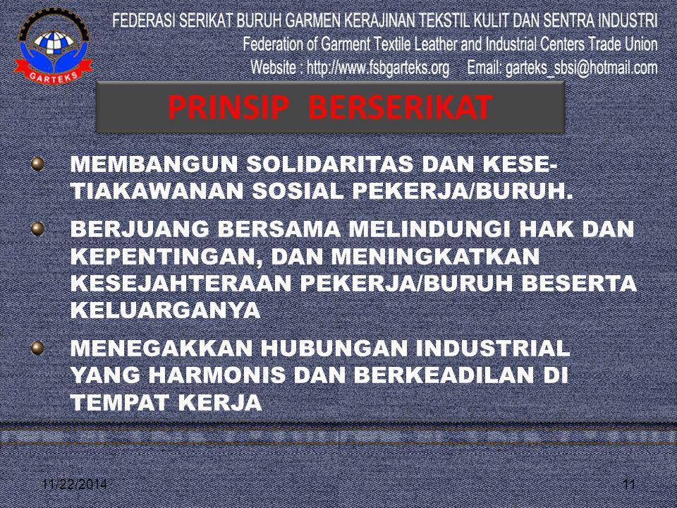 11/22/201411 MEMBANGUN SOLIDARITAS DAN KESE- TIAKAWANAN SOSIAL PEKERJA/BURUH. BERJUANG BERSAMA MELINDUNGI HAK DAN KEPENTINGAN, DAN MENINGKATKAN KESEJA