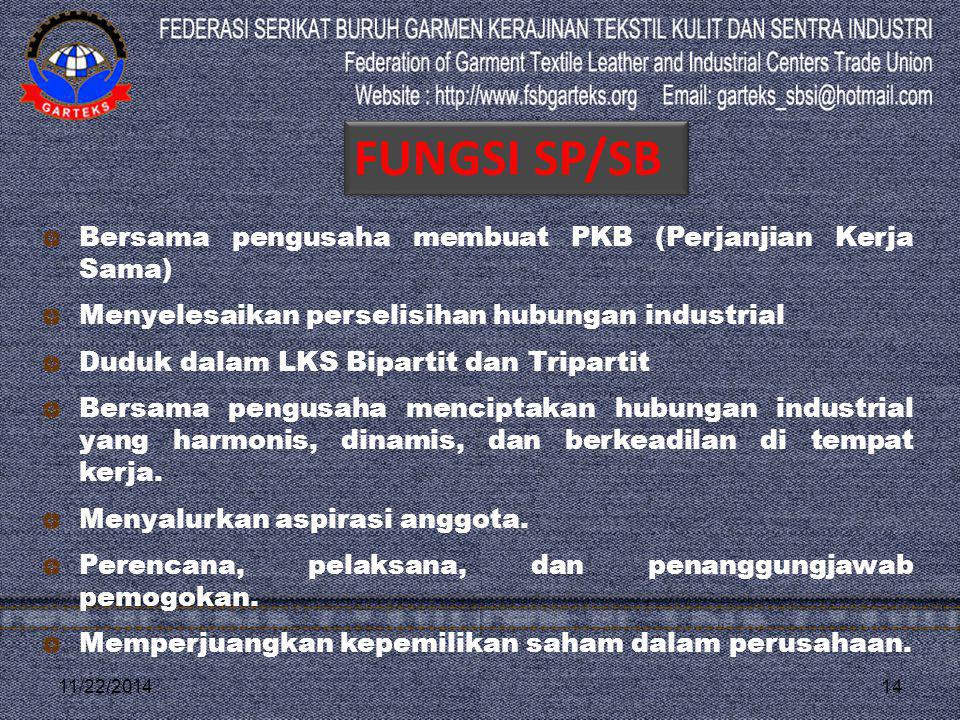 11/22/201414 Bersama pengusaha membuat PKB (Perjanjian Kerja Sama) Menyelesaikan perselisihan hubungan industrial Duduk dalam LKS Bipartit dan Tripart