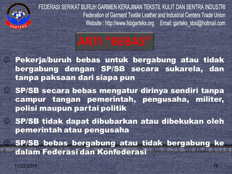 11/22/201416 Pekerja/buruh bebas untuk bergabung atau tidak bergabung dengan SP/SB secara sukarela, dan tanpa paksaan dari siapa pun SP/SB secara beba