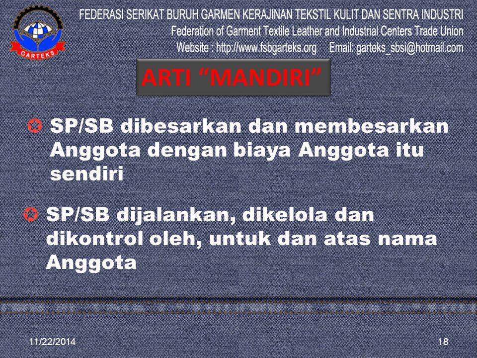 11/22/201418  SP/SB dijalankan, dikelola dan dikontrol oleh, untuk dan atas nama Anggota  SP/SB dibesarkan dan membesarkan Anggota dengan biaya Angg