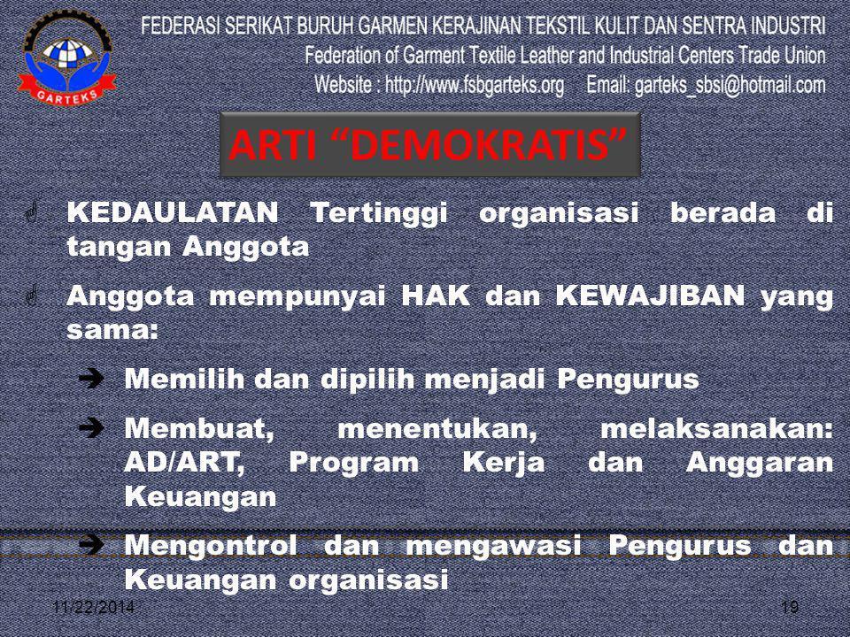 11/22/201419  KEDAULATAN Tertinggi organisasi berada di tangan Anggota  Anggota mempunyai HAK dan KEWAJIBAN yang sama:  Memilih dan dipilih menjadi