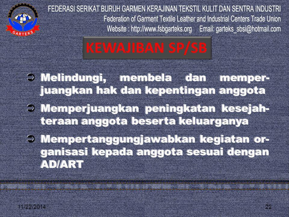 11/22/201422  Melindungi, membela dan memper- juangkan hak dan kepentingan anggota  Memperjuangkan peningkatan kesejah- teraan anggota beserta kelua