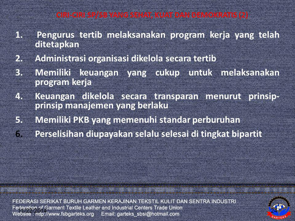 CIRI-CIRI SP/SB YANG SEHAT, KUAT DAN DEMOKRATIS (2) 1. Pengurus tertib melaksanakan program kerja yang telah ditetapkan 2.Administrasi organisasi dike