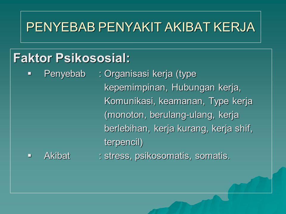 PENYEBAB PENYAKIT AKIBAT KERJA Faktor Ergonomi/fisiologi:  Penyebab: cara kerja, posisi kerja, alat kerja, lingkungan kerja, kontruksi tidak lingkung