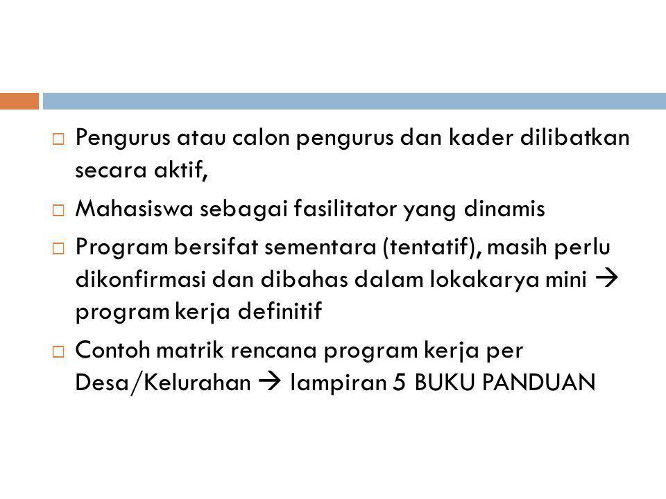 Dalam program kerja dibuat ringkasan data yang berisi:  Penduduk dan keluarga  Jumlah segmentasi sasaran per Dusun/RW  Kelompok usaha yang akan diikuti keluarga muda Ringkasan Data Potensi Lembaga:
