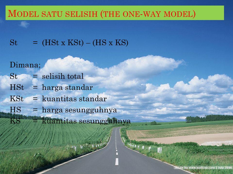 A NALISIS S ELISIH B IAYA P RODUKSI L ANGSUNG Model satu selisih (the one-way model) Model dua selisih (the two-way model) Model tiga selisih (the thr