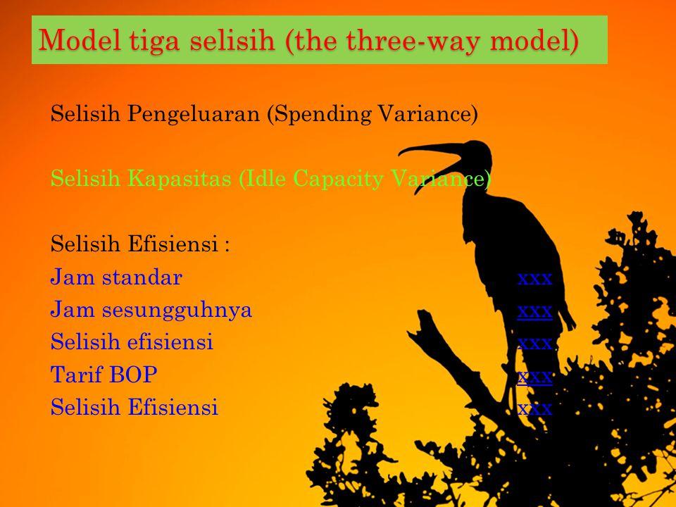 M ODEL TIGA SELISIH ( THE THREE - WAY MODEL ) Selisih Pengeluaran (Spending Variance) BOP Sesungguhnyaxxx BOP Tetap pada kapasitas normalxxx BOP varia