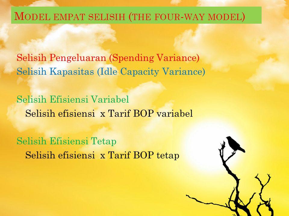 Model tiga selisih (the three-way model) Selisih Pengeluaran (Spending Variance) Selisih Kapasitas (Idle Capacity Variance) Selisih Efisiensi : Jam st