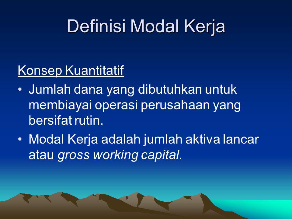 Definisi Modal Kerja Konsep Kuantitatif Jumlah dana yang dibutuhkan untuk membiayai operasi perusahaan yang bersifat rutin. Modal Kerja adalah jumlah