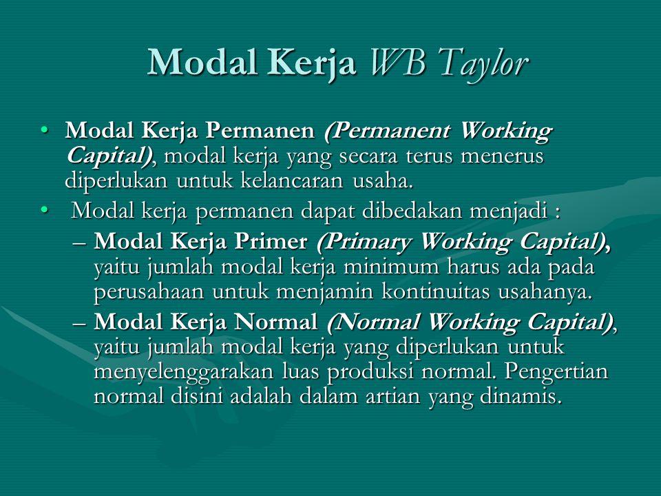 Modal Kerja WB Taylor Modal Kerja Permanen (Permanent Working Capital), modal kerja yang secara terus menerus diperlukan untuk kelancaran usaha. M Mod
