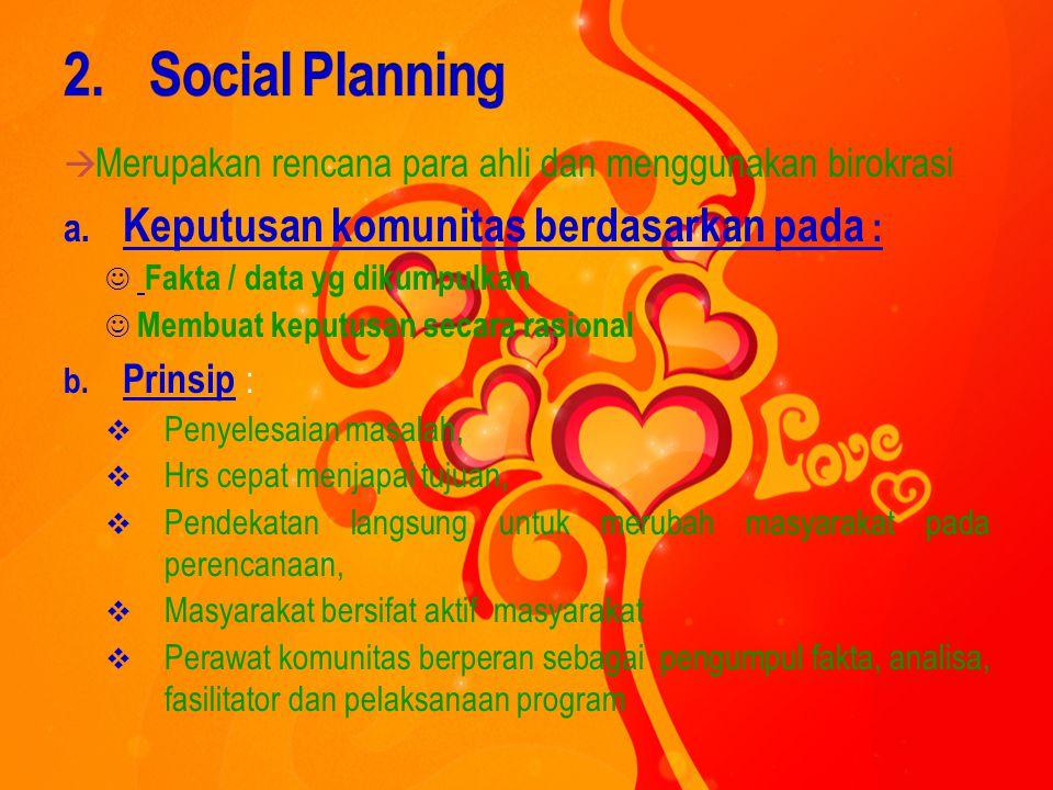 1. Locality Development (Pengembangan wilayah setempat)  dengan peran serta masyarakat dlm proses kemandirian Prinsip :  Menggunakan potensi yang ad