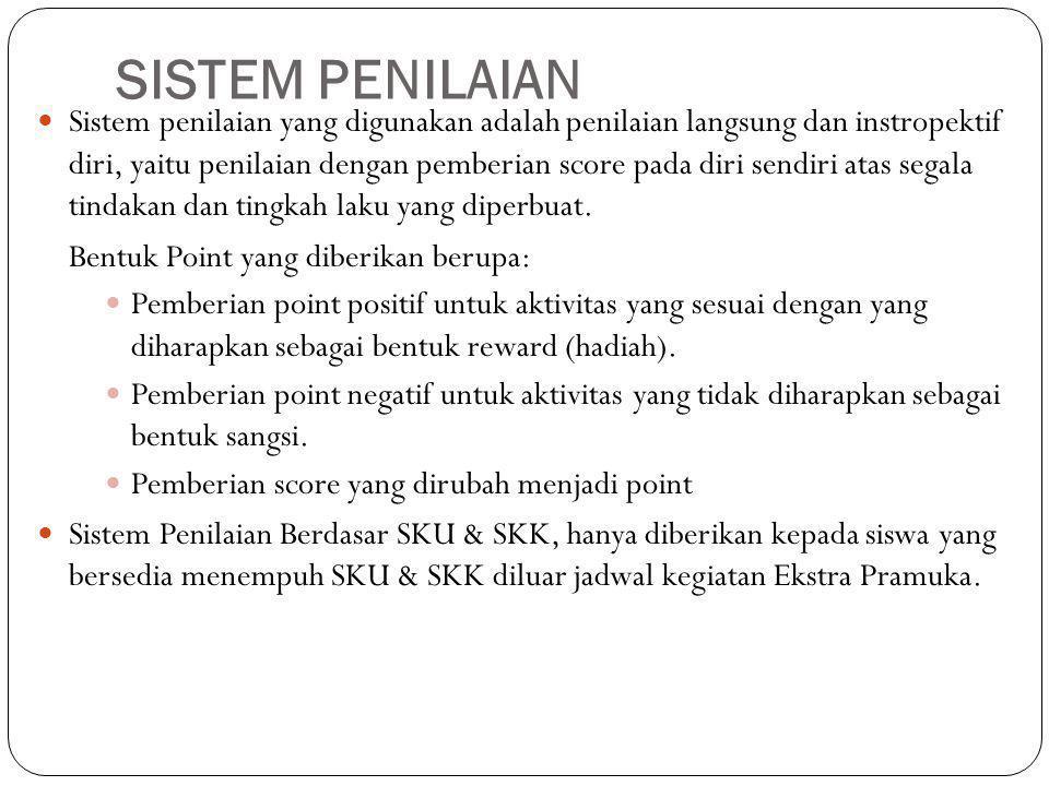 SISTEM PENILAIAN Sistem penilaian yang digunakan adalah penilaian langsung dan instropektif diri, yaitu penilaian dengan pemberian score pada diri sen