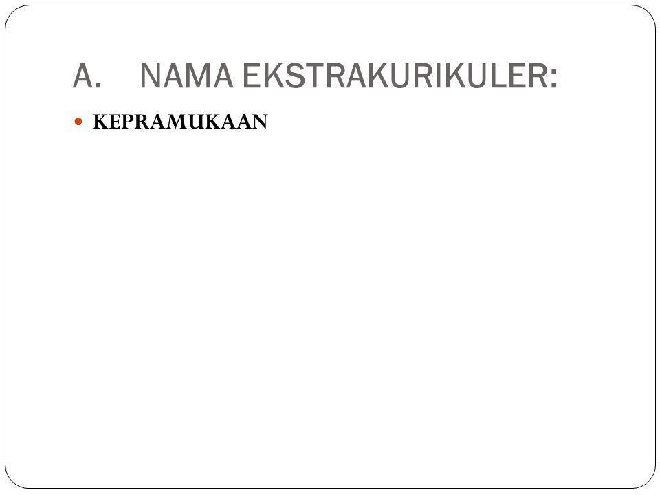 A.NAMA EKSTRAKURIKULER: KEPRAMUKAAN