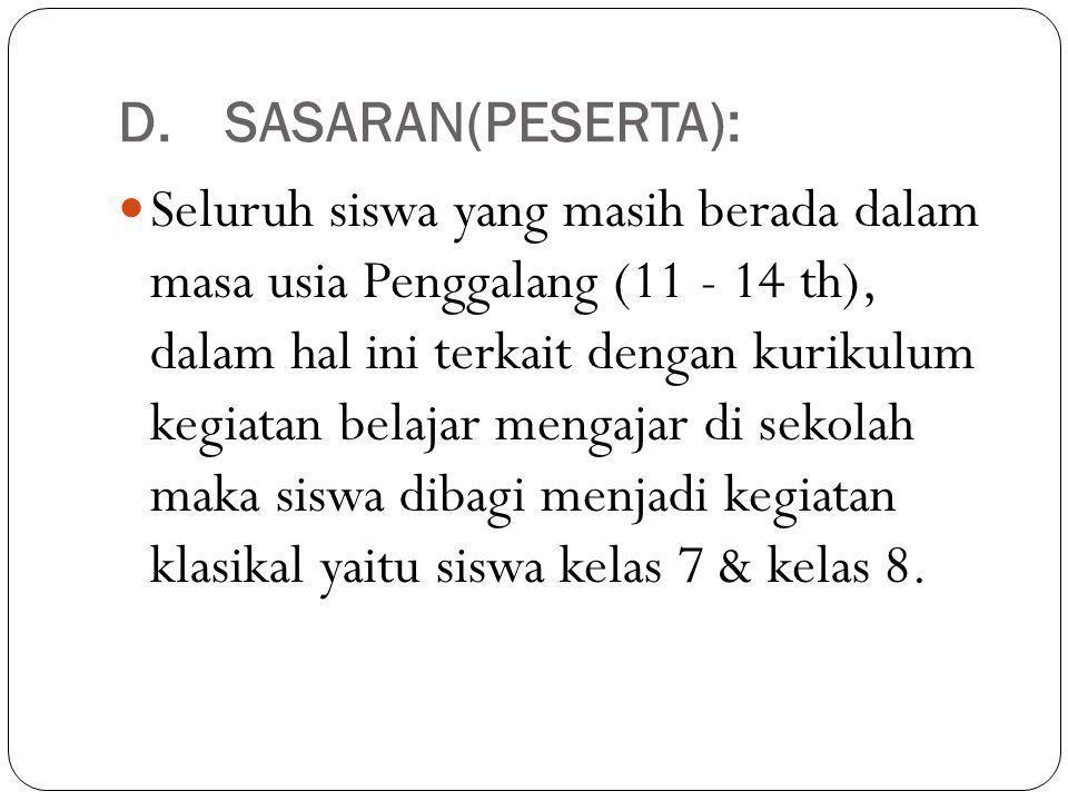 D.SASARAN(PESERTA): Seluruh siswa yang masih berada dalam masa usia Penggalang (11 - 14 th), dalam hal ini terkait dengan kurikulum kegiatan belajar m