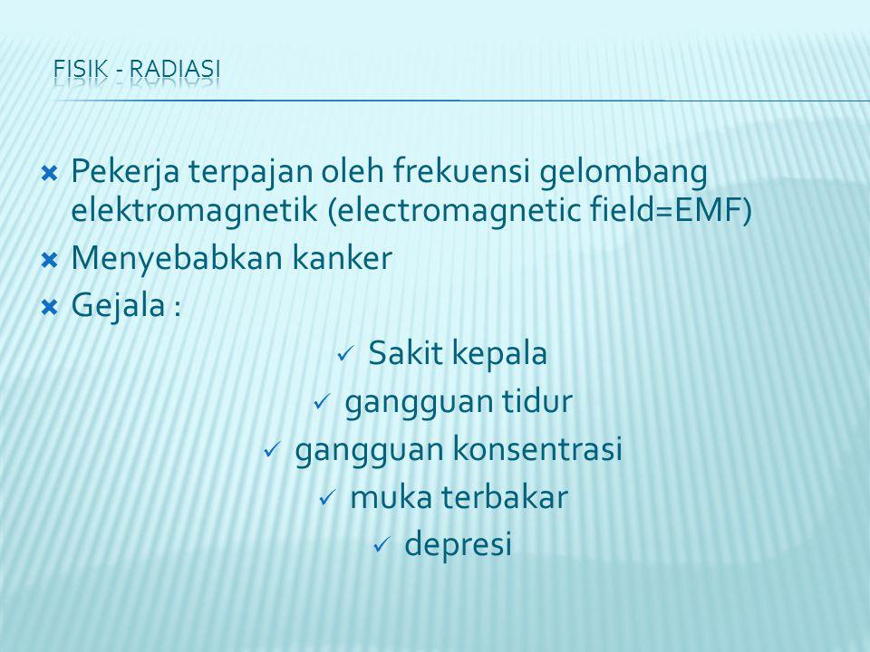  Pekerja terpajan oleh frekuensi gelombang elektromagnetik (electromagnetic field=EMF)  Menyebabkan kanker  Gejala : Sakit kepala gangguan tidur gangguan konsentrasi muka terbakar depresi