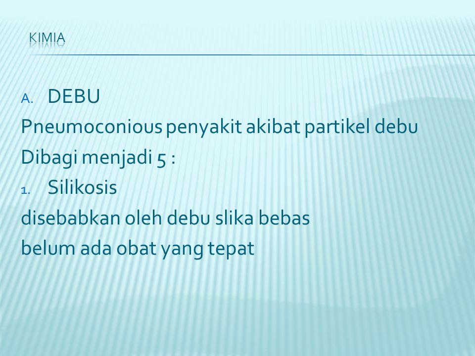 A. DEBU Pneumoconious penyakit akibat partikel debu Dibagi menjadi 5 : 1.