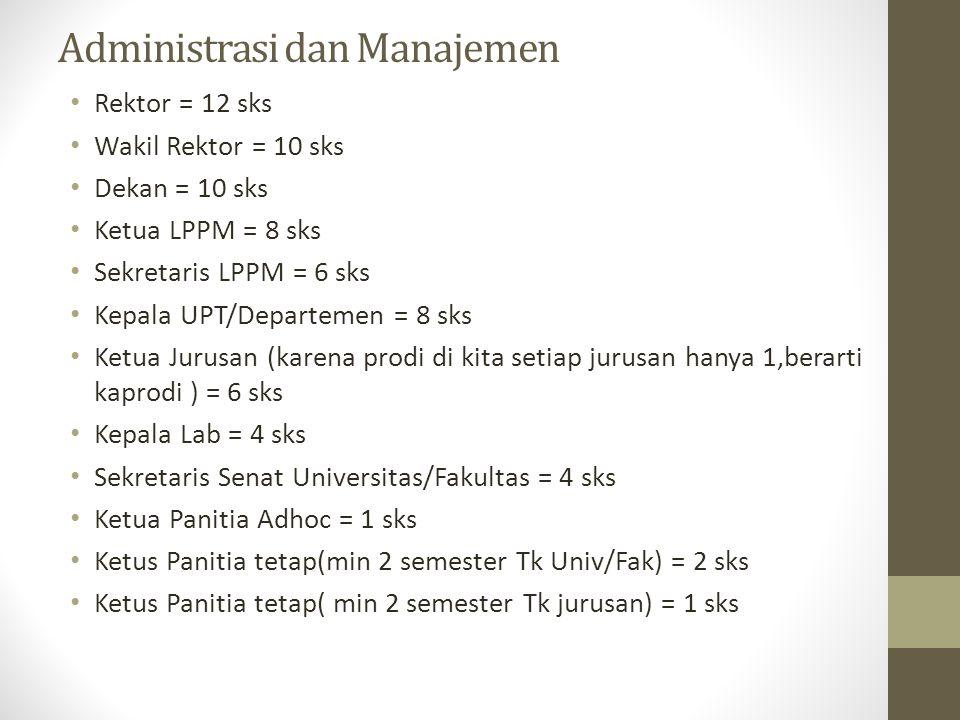 Administrasi dan Manajemen Rektor = 12 sks Wakil Rektor = 10 sks Dekan = 10 sks Ketua LPPM = 8 sks Sekretaris LPPM = 6 sks Kepala UPT/Departemen = 8 s