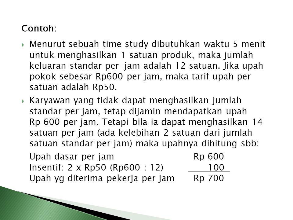 Contoh:  Menurut sebuah time study dibutuhkan waktu 5 menit untuk menghasilkan 1 satuan produk, maka jumlah keluaran standar per-jam adalah 12 satuan