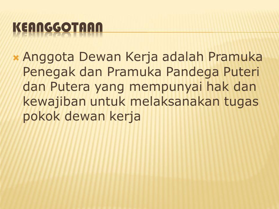  Anggota Dewan Kerja adalah Pramuka Penegak dan Pramuka Pandega Puteri dan Putera yang mempunyai hak dan kewajiban untuk melaksanakan tugas pokok dew