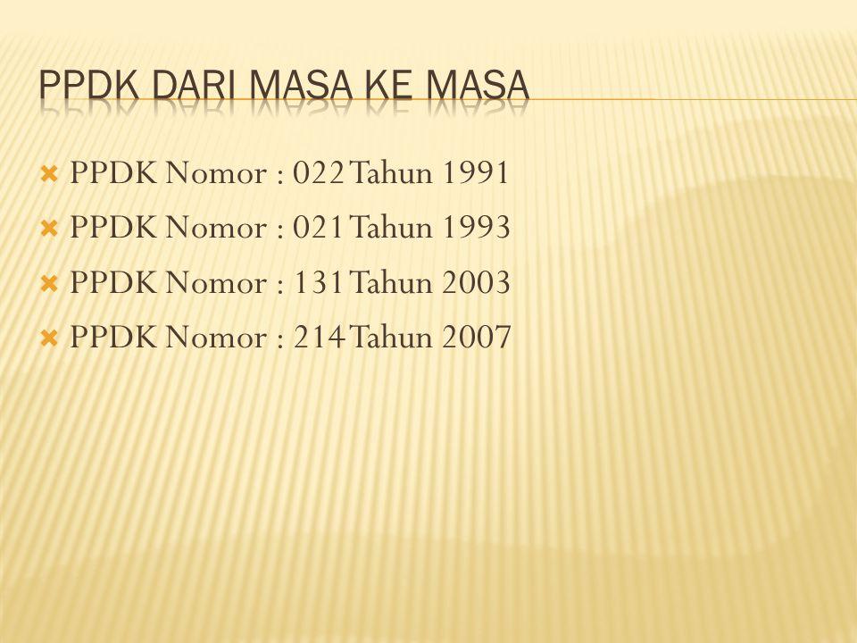  PPDK Nomor : 022 Tahun 1991  PPDK Nomor : 021 Tahun 1993  PPDK Nomor : 131 Tahun 2003  PPDK Nomor : 214 Tahun 2007