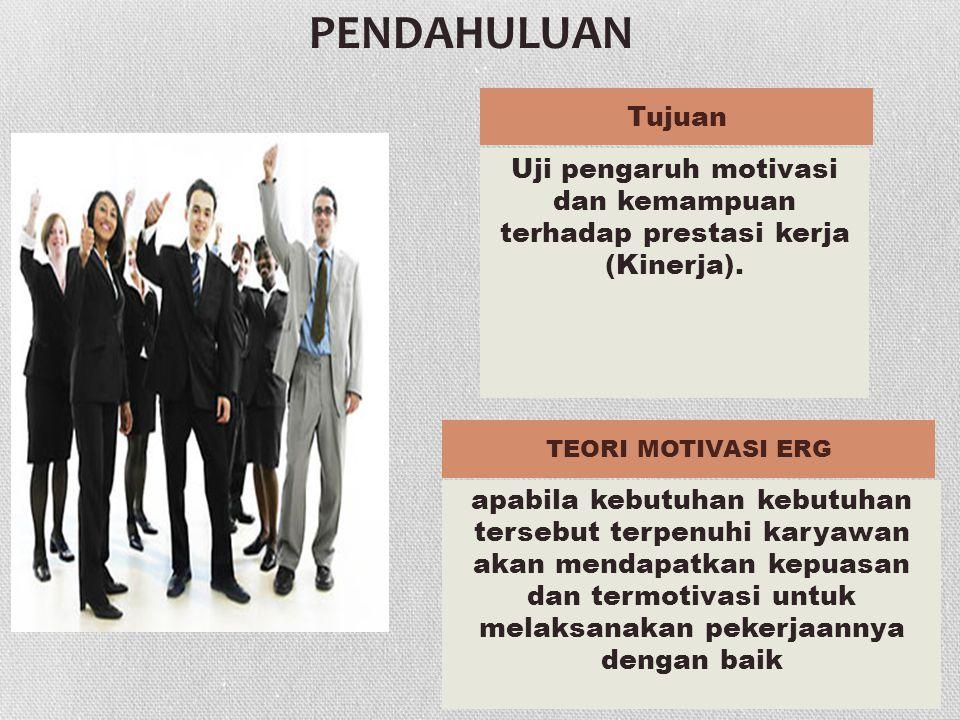 PENDAHULUAN Uji pengaruh motivasi dan kemampuan terhadap prestasi kerja (Kinerja).