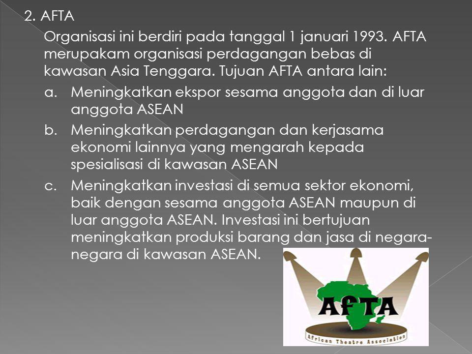 Badan-Badan Kerja Sama Ekonomi Antarnegara dalam Lingkup Satu Kawasan/Regional 1. ASEAN ASEAN merupakan suatu organisasi perhimpunan bangsa-bangsa di