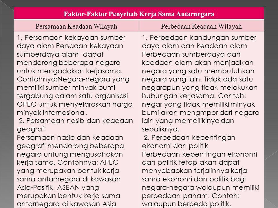 Faktor-Faktor Penyebab Kerja Sama Antarnegara Persamaan Keadaan WilayahPerbedaan Keadaan Wilayah 1.