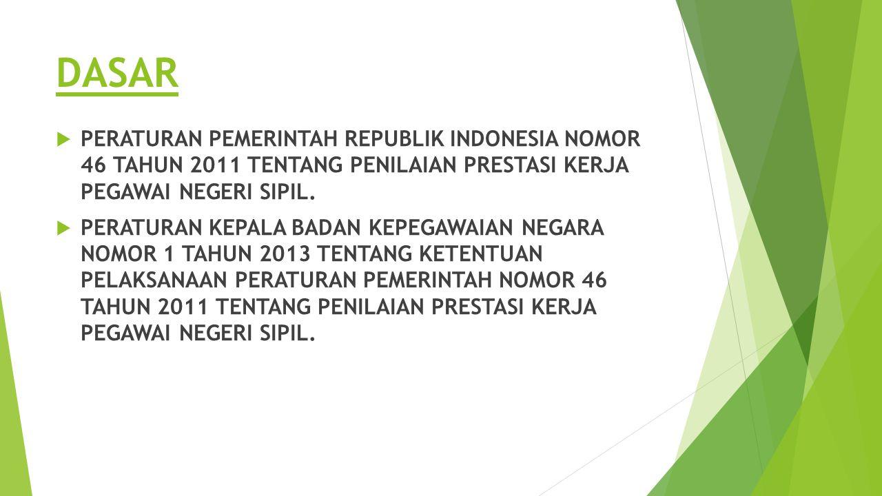 DASAR  PERATURAN PEMERINTAH REPUBLIK INDONESIA NOMOR 46 TAHUN 2011 TENTANG PENILAIAN PRESTASI KERJA PEGAWAI NEGERI SIPIL.  PERATURAN KEPALA BADAN KE