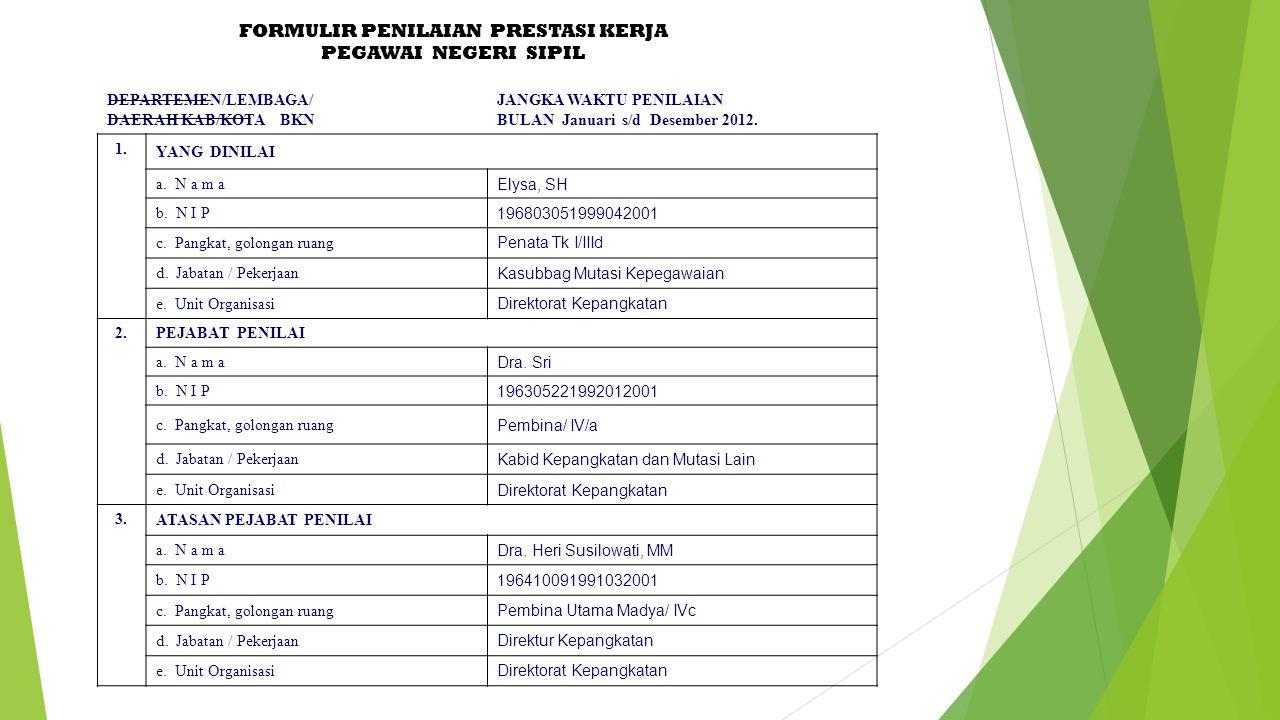 FORMULIR PENILAIAN PRESTASI KERJA PEGAWAI NEGERI SIPIL DEPARTEMEN/LEMBAGA/ DAERAH KAB/KOTA BKN JANGKA WAKTU PENILAIAN BULAN Januari s/d Desember 2012.