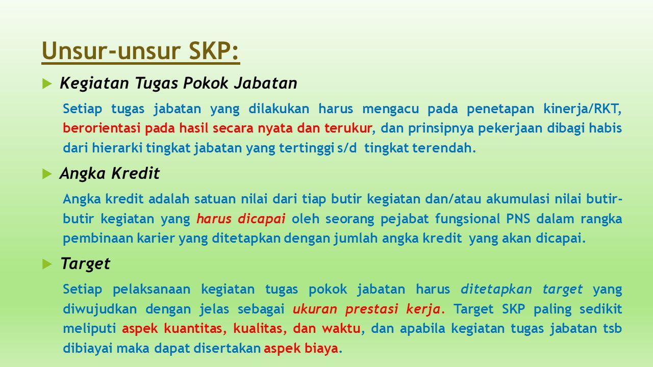 Unsur-unsur SKP:  Kegiatan Tugas Pokok Jabatan Setiap tugas jabatan yang dilakukan harus mengacu pada penetapan kinerja/RKT, berorientasi pada hasil