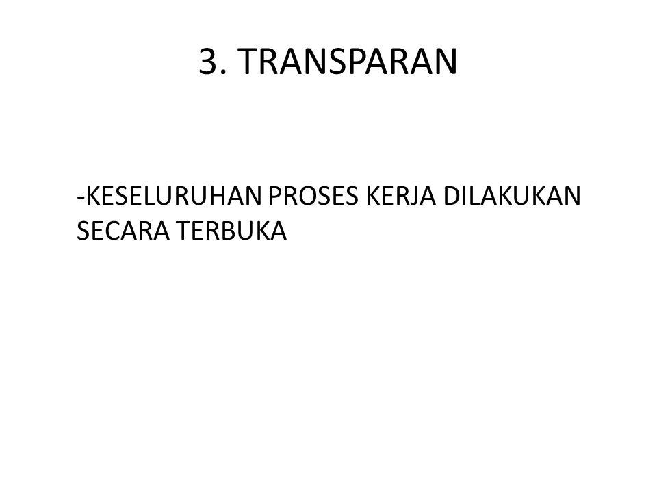 3. TRANSPARAN -KESELURUHAN PROSES KERJA DILAKUKAN SECARA TERBUKA
