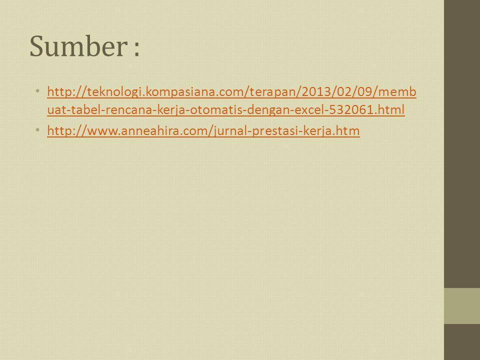 Sumber : http://teknologi.kompasiana.com/terapan/2013/02/09/memb uat-tabel-rencana-kerja-otomatis-dengan-excel-532061.html http://teknologi.kompasiana