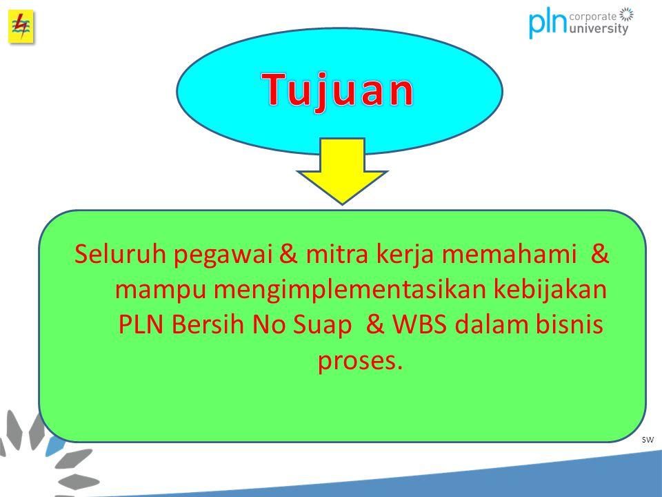 Seluruh pegawai & mitra kerja memahami & mampu mengimplementasikan kebijakan PLN Bersih No Suap & WBS dalam bisnis proses.