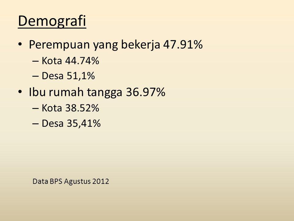 Demografi Perempuan yang bekerja 47.91% – Kota 44.74% – Desa 51,1% Ibu rumah tangga 36.97% – Kota 38.52% – Desa 35,41% Data BPS Agustus 2012