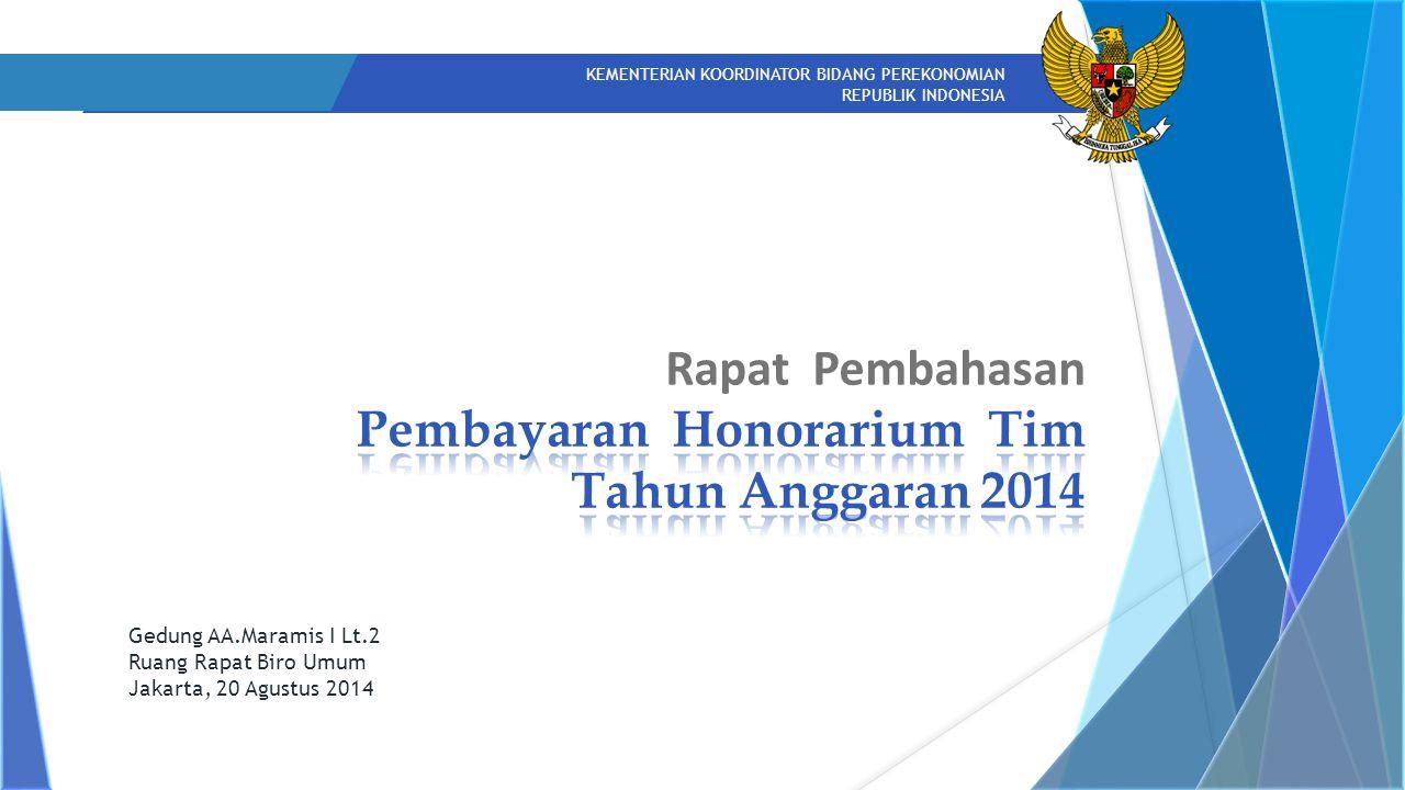 KEMENTERIAN KOORDINATOR BIDANG PEREKONOMIAN REPUBLIK INDONESIA Gedung AA.Maramis I Lt.2 Ruang Rapat Biro Umum Jakarta, 20 Agustus 2014