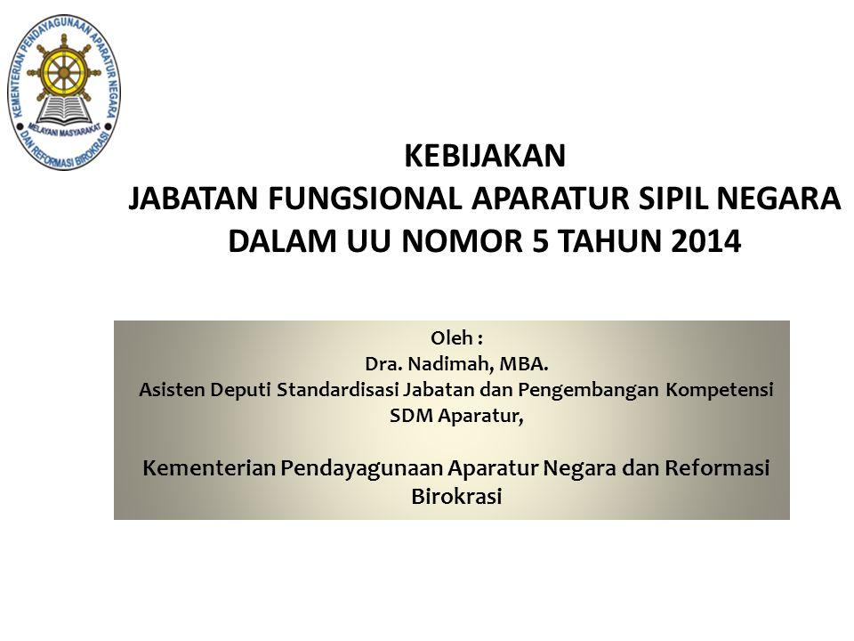 KEBIJAKAN JABATAN FUNGSIONAL APARATUR SIPIL NEGARA DALAM UU NOMOR 5 TAHUN 2014 Oleh : Dra. Nadimah, MBA. Asisten Deputi Standardisasi Jabatan dan Peng