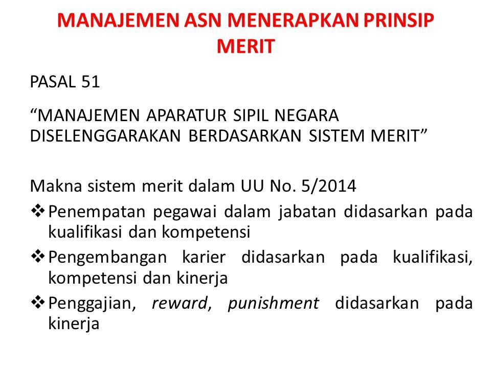 """MANAJEMEN ASN MENERAPKAN PRINSIP MERIT PASAL 51 """"MANAJEMEN APARATUR SIPIL NEGARA DISELENGGARAKAN BERDASARKAN SISTEM MERIT"""" Makna sistem merit dalam UU"""
