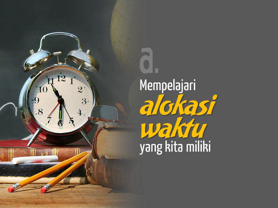 a. Mempelajari alokasi yang kita miliki waktu