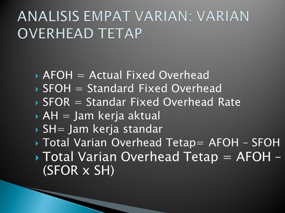  AFOH = Actual Fixed Overhead  SFOH = Standard Fixed Overhead  SFOR = Standar Fixed Overhead Rate  AH = Jam kerja aktual  SH= Jam kerja standar 