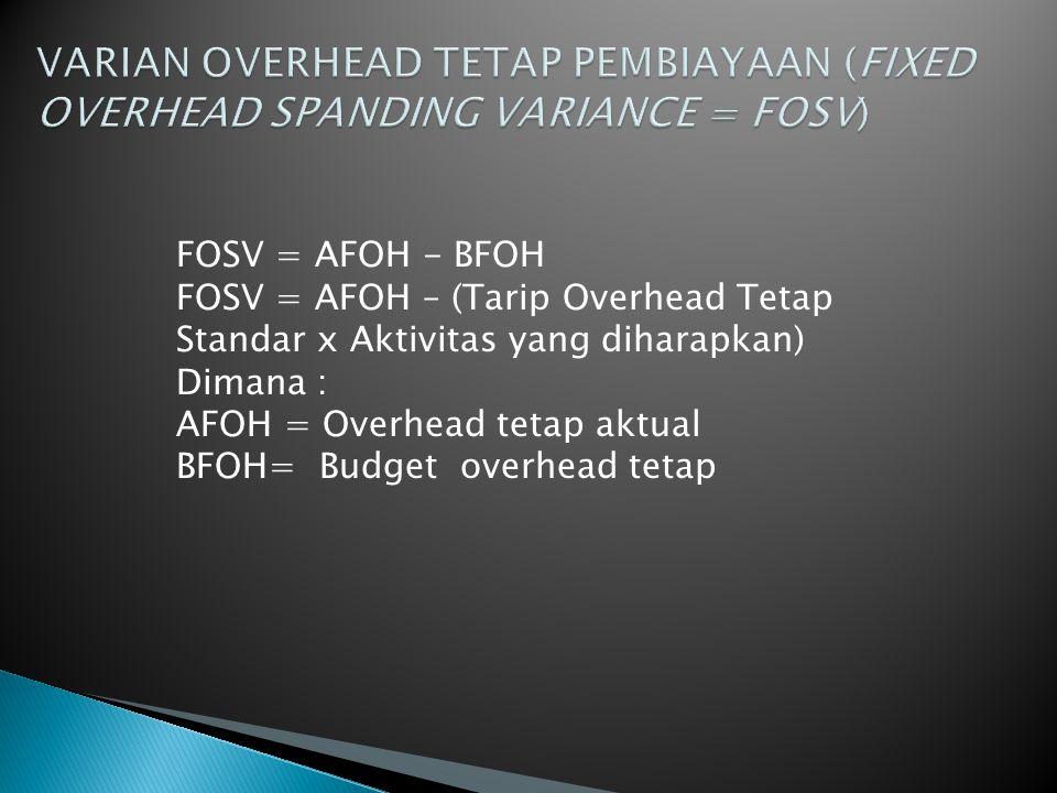 FOSV = AFOH - BFOH FOSV = AFOH – (Tarip Overhead Tetap Standar x Aktivitas yang diharapkan) Dimana : AFOH = Overhead tetap aktual BFOH= Budget overhead tetap