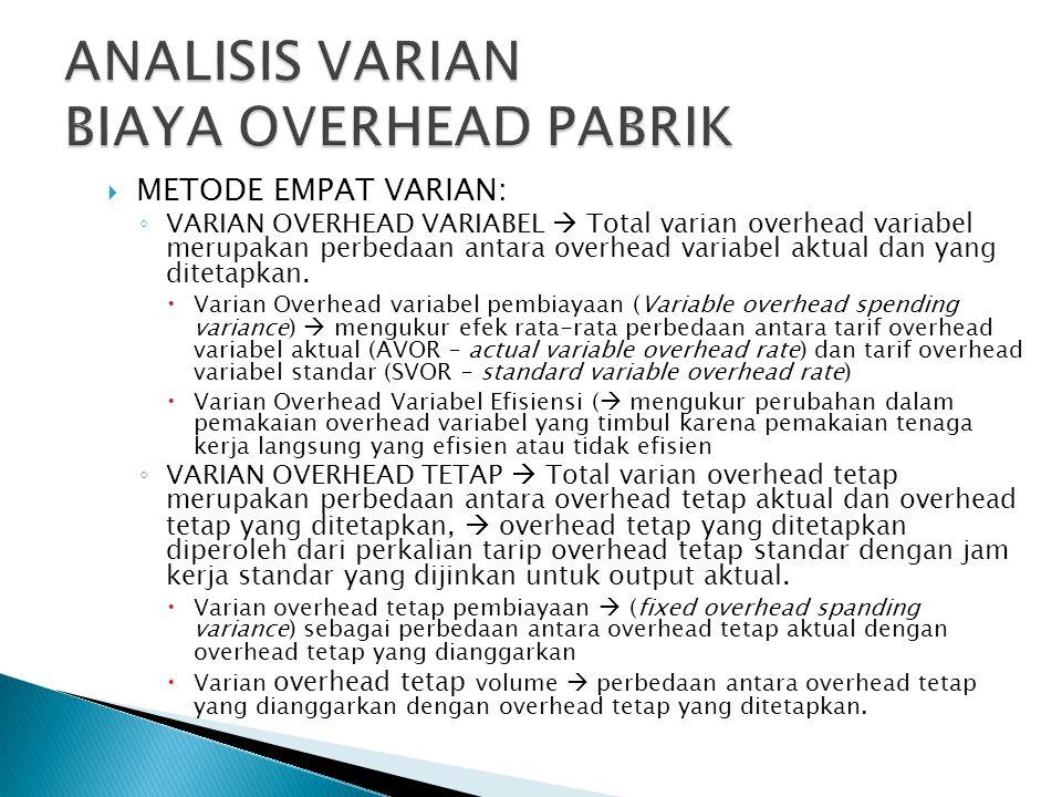  METODE EMPAT VARIAN: ◦ VARIAN OVERHEAD VARIABEL  Total varian overhead variabel merupakan perbedaan antara overhead variabel aktual dan yang ditetapkan.