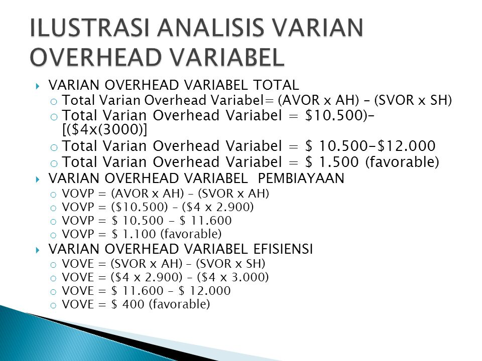  VARIAN OVERHEAD VARIABEL TOTAL o Total Varian Overhead Variabel= (AVOR x AH) – (SVOR x SH) o Total Varian Overhead Variabel = $10.500)– [($4x(3000)]