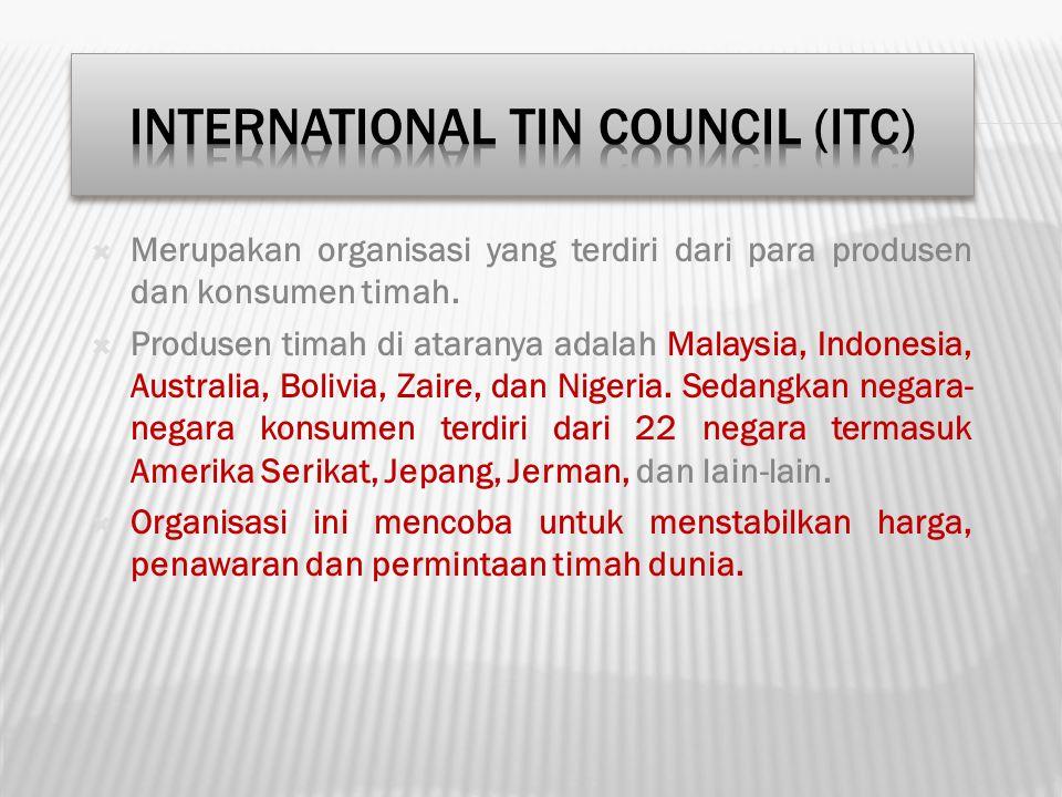 Merupakan organisasi yang terdiri dari para produsen dan konsumen timah.  Produsen timah di ataranya adalah Malaysia, Indonesia, Australia, Bolivia