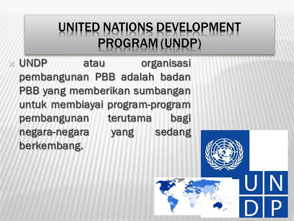  UNDP atau organisasi pembangunan PBB adalah badan PBB yang memberikan sumbangan untuk membiayai program-program pembangunan terutama bagi negara-neg