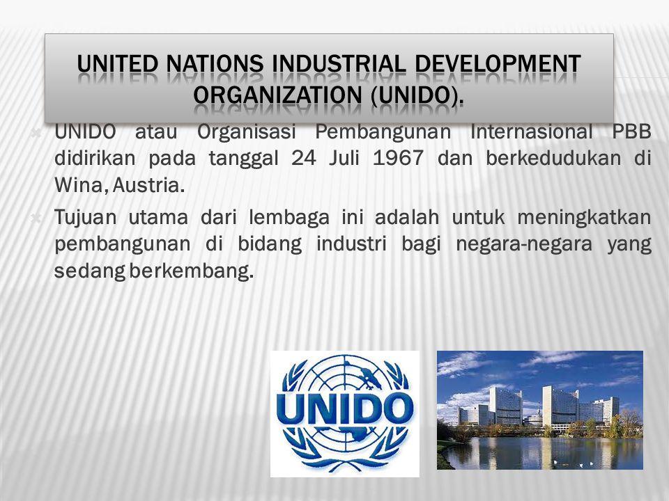  UNIDO atau Organisasi Pembangunan Internasional PBB didirikan pada tanggal 24 Juli 1967 dan berkedudukan di Wina, Austria.  Tujuan utama dari lemba